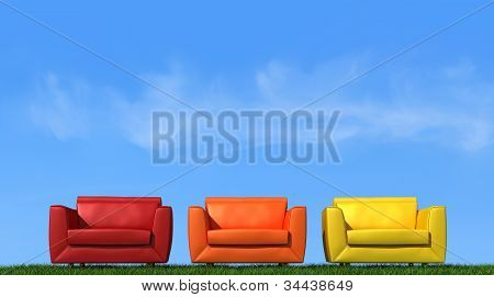 Three Armchair On Grass