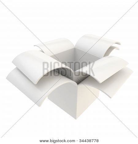 Glossy package parcel box isolated on white