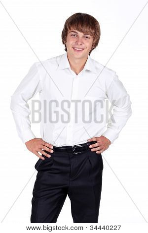 Smiling Satisfied Stylish Young Man Standing With Over White Background