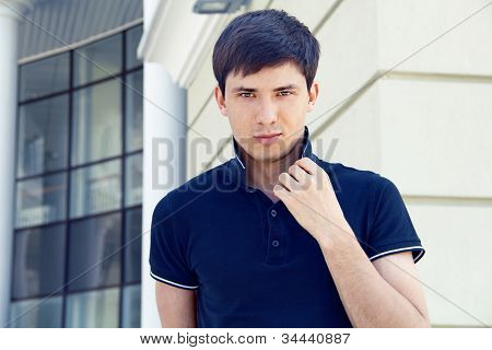 Handsome Man, Photo Of Young Male Model, Outdoors Portrait