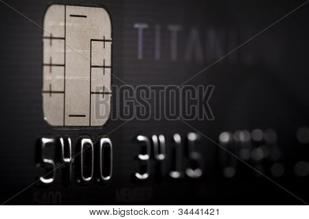 Close-up of a credit card with chip technology