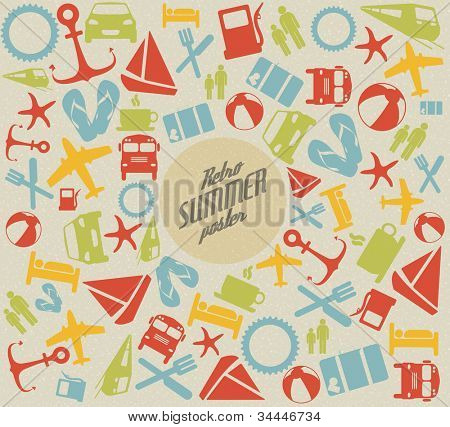 Vector summer pattern / background with the sun and summer icons