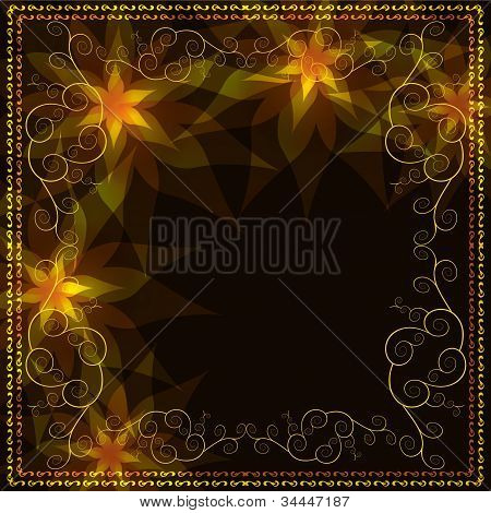 Ornamental Golden Background With Decorative Pattern