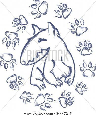 Hand drawn  bull terrier and paw prints