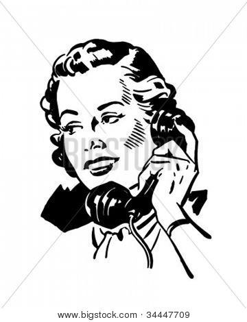 Phone Gal 2 - Retro Clipart Illustration