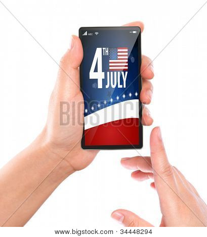 Business hand with mobile phone show American Flag for Independence Day