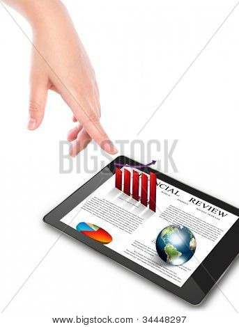 Hand pointing on touch screen device (Elements of this image furnished by NASA)