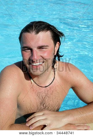 Man Posing In Pool