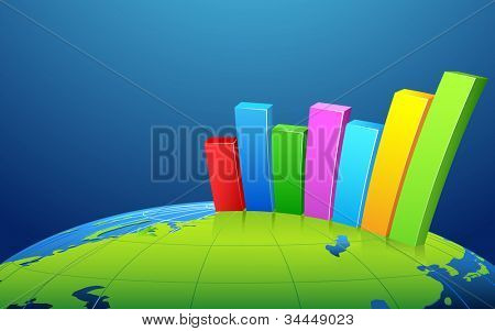 illustration of business bar graph on earth surface