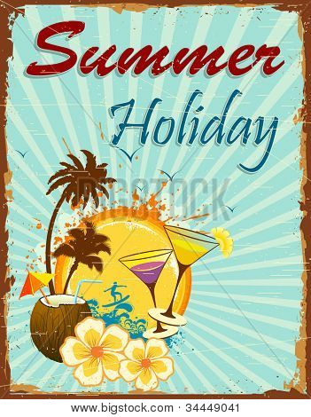 illustration of summer holiday poster with palm tree and coconut
