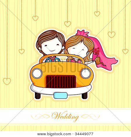 illustration of just married couple in car