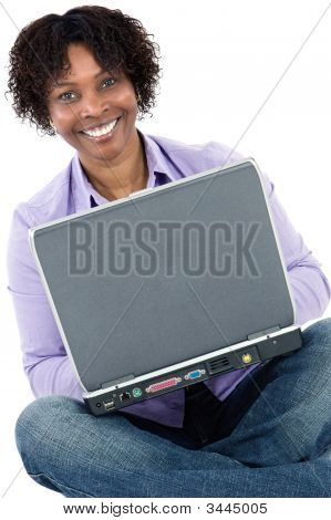 African Girl With Computer