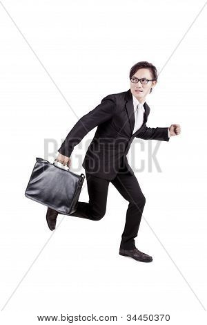 Afraid Businessman Running Away