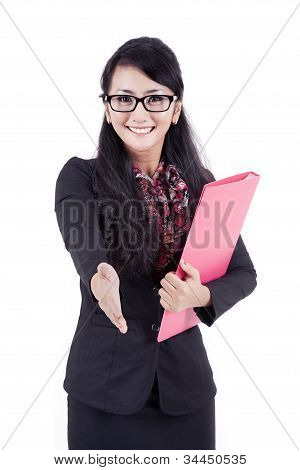 Businesswoman With Her Hand Stretched