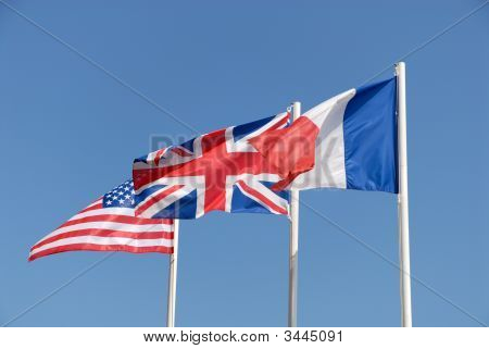 Flags Of Uk, Usa And France