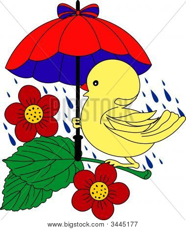 Little Duck Under Umbrella In Rain - Vector Illustration. Fully Editable, Easy Color Change.