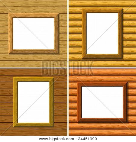 Wood frame on wall, set