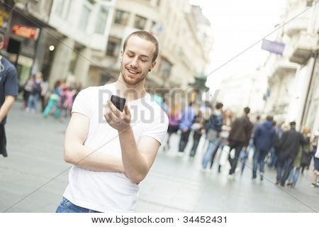 Man With Phone Walking