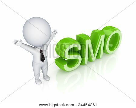 3d small person with a word SMO.