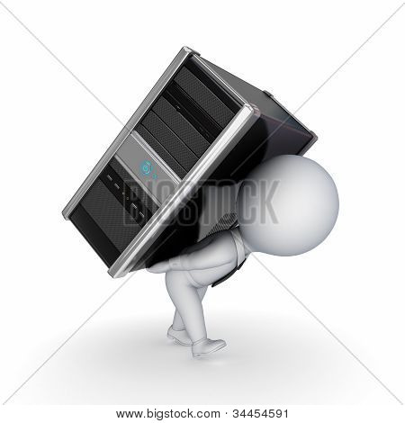 3d small person with computer.