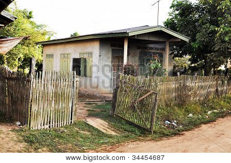 Old House Thailand Bamboo Weave Fence