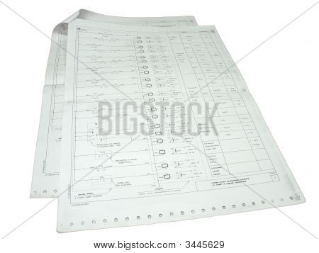 Two Papers With Electronic Schemes Isolated Over White Background