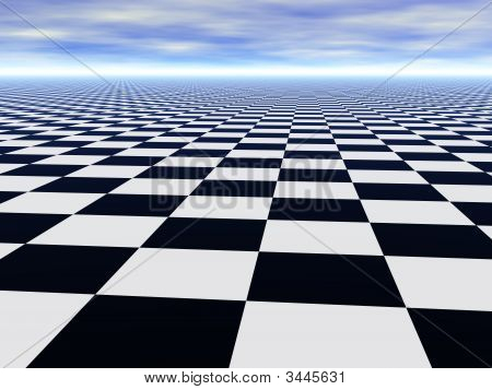 Chess Black White Infinite Floor And Cloudy Blue Sky