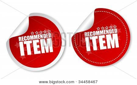 Item recommended stickers