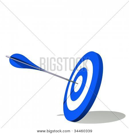High resolution concept or conceptual blue dart target board with an arrow in center isolated on white background,as success,competition ,business,game,achievement,win,perfect ion,strategy or focus