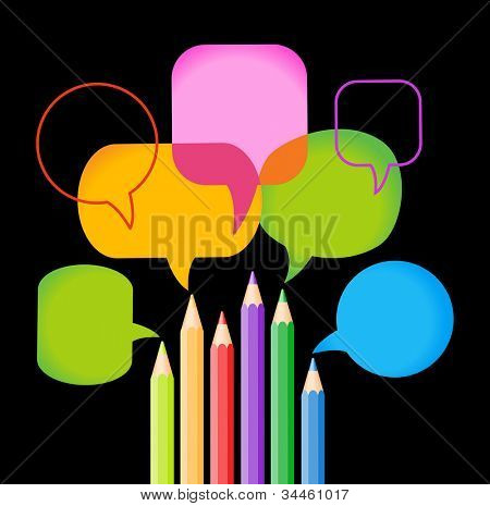 vector background of brightly colored pencils and Speech Bubble. concept of communication through art. File is saved in AI10 EPS version. This illustration contains a transparency