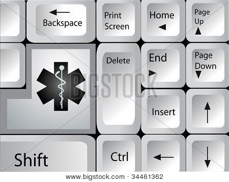 Computer keyboard with medical icon key. EPS 10.
