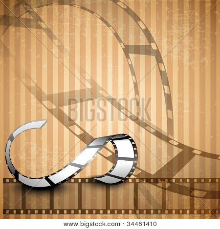 Film stripe or film reel on shiny grungy brown background. EPS 10.