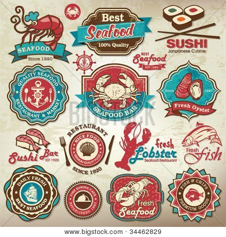 Collection of vintage retro grunge seafood restaurant labels, badges and icons