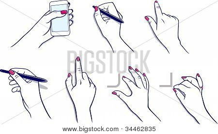 Hands using tablet & stylus