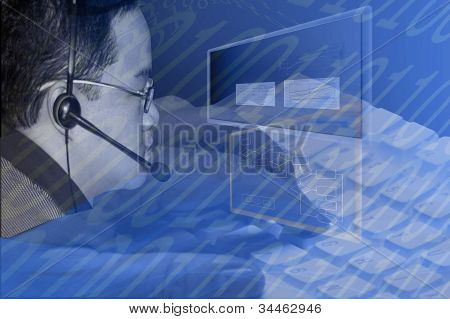 Collage Of Worker With Computer Elements And Binary Numbers
