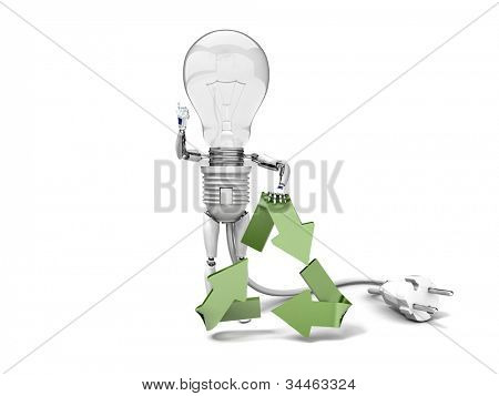 "The robot ""bulb"" leans on recycling symbol and show ""ok""  isolated on a white background"