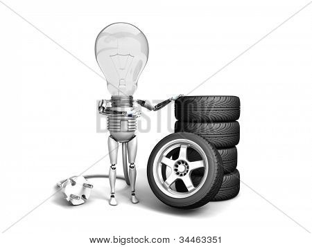 "The robot ""bulb"" leans on new wheels and show ""ok""  isolated on a white background"