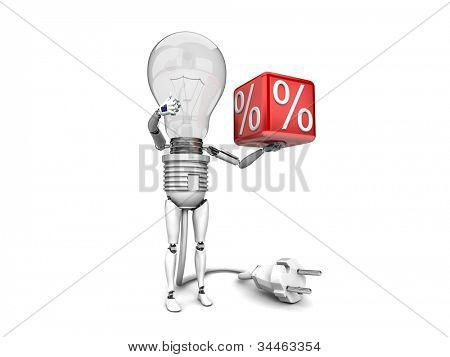 "The robot ""bulb"" Holds in a hand ""percent"" sign and show ""ok""  isolated on a white background"