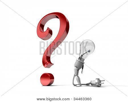 """The robot """"bulb"""" perplexedly looks at a question mark isolated on a white background"""