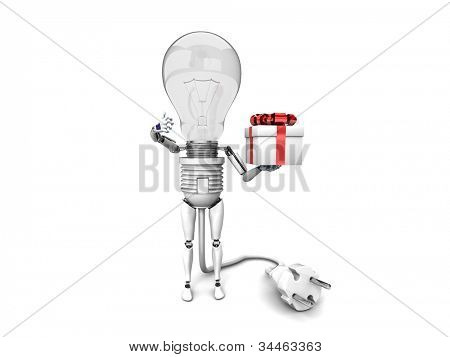 "The robot ""bulb"" Holds in a hand gift and show ""ok""  isolated on a white background"