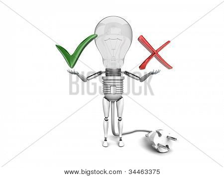"The robot ""bulb"" Holds in a hands ""Yes"" and ""No"" signs  isolated on a white background"