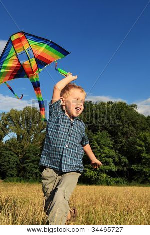 Running Boy With  Kite In Rainbow Colors