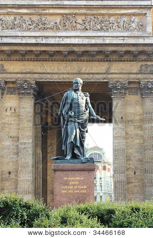 Monument On The Background Of The Kazan Cathedral