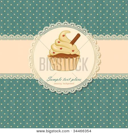 Background with cupcake and lace