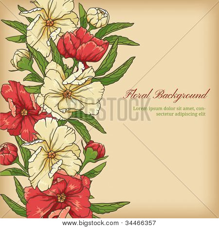 Floral background with colored flowers and leafs