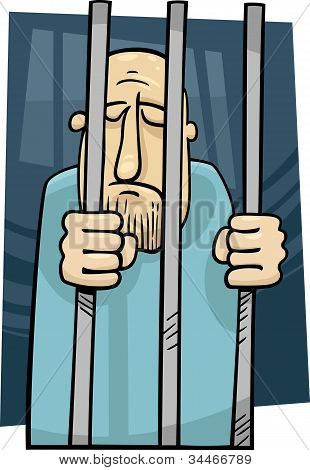 Cartoon Illustration Of Jailed Man