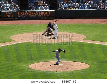 Giants Pitcher Santiago Castilla Throws Ball Toward Homeplate With Athletics Batter Waiting For Pitc