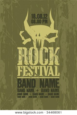 Rock festival design template with cow scull and place for text.