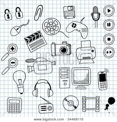 Vector illustration icons on electronics