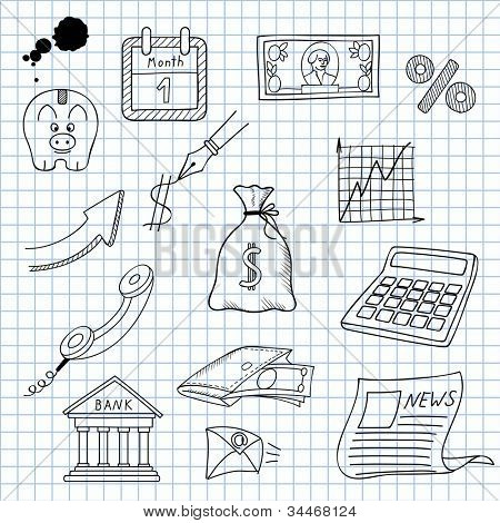 Vector illustration of images on the economy